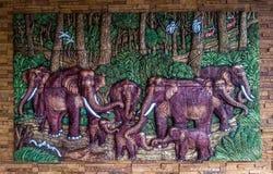 Parete degli elefanti Fotografia Stock Libera da Diritti