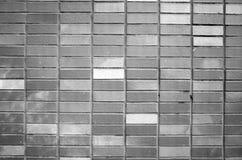 Parete dei mattoni verticalmente impilati elaborati in bianco e nero Fotografia Stock