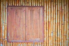 Parete del bambù e della finestra Fotografia Stock
