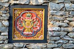 Parete del Bhutan Fotografie Stock Libere da Diritti