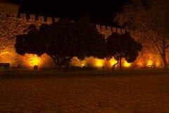 Parete del castello alla notte Fotografie Stock Libere da Diritti