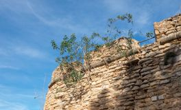 Parete del castello in Denia, Spagna immagine stock