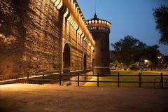 Parete del castello a Milano Immagini Stock