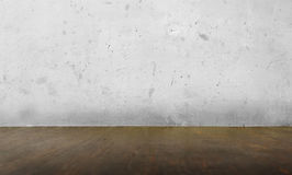 Parete del cemento di lerciume e fondo di legno fotografie stock libere da diritti