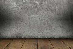 Parete del cemento e pavimento di legno per il modello Fotografie Stock Libere da Diritti