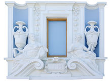 Parete del frammento con la finestra classica isolata Immagini Stock Libere da Diritti