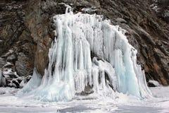 Parete del ghiaccio sul lago Baikal all'inverno Fotografia Stock Libera da Diritti