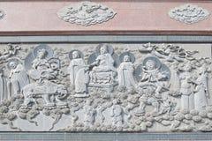Parete del rilievo del tempio Fotografie Stock