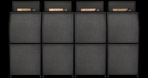 Parete del suono - pile dell'altoparlante ed amplificatori della chitarra Fotografia Stock