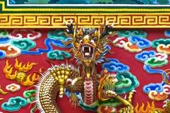 Parete del tempio, arte cinese capa del drago Immagini Stock Libere da Diritti