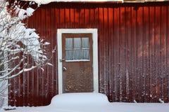 Parete della casa coperta di brina Fotografie Stock