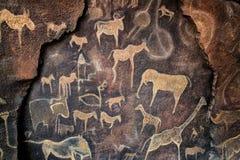 Parete della caverna che dipinge preistorica Fotografie Stock