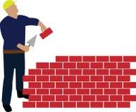 Parete della costruzione dell'operaio Immagine Stock Libera da Diritti