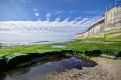 Parete della difesa di mare a Lyme Regis Fotografie Stock