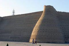 Parete della fortezza di Buchara, l'arca Fotografia Stock