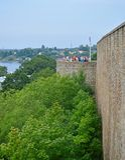 Parete della fortezza di Ivangorod Immagine Stock Libera da Diritti
