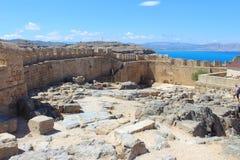 Parete della fortezza di Lindos Fotografie Stock Libere da Diritti