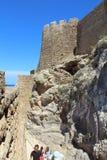 Parete della fortezza di Lindos Fotografia Stock