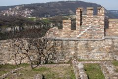 Parete della fortezza di Tsarevets, Veliko Tarnovo, Bulgaria Immagini Stock Libere da Diritti