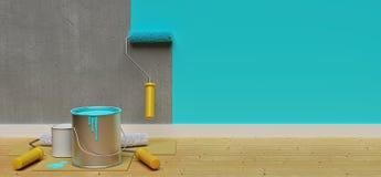 parete della pittura con il rullo di pittura rappresentazione 3d illustrazione vettoriale