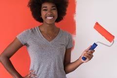 Parete della pittura della donna di colore immagine stock