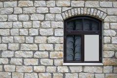 Parete della roccia con la finestra, spazio della copia Fotografia Stock