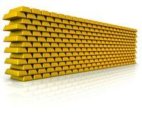 Parete della verga d'oro Fotografie Stock Libere da Diritti