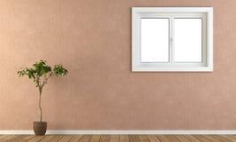 Parete dentellare con la finestra e la pianta Fotografia Stock