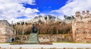 Parete di Contantinople, palazzo di Topkapi, Costantinopoli, Turchia, sulla riva di Bosforus Fotografia Stock Libera da Diritti