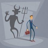 Parete di With Demon Shadow dell'uomo d'affari dietro l'affare illustrazione vettoriale