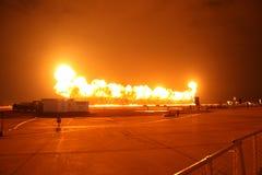 Parete di fuoco sulla base di aeronautica Immagini Stock