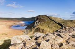 Parete di Hadrians e Lough del Crag Immagini Stock Libere da Diritti