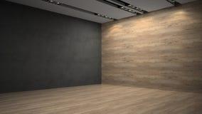 Parete di legno del whith vuoto della stanza Fotografia Stock Libera da Diritti