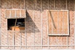 Parete di legno della finestra Immagini Stock