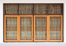 Parete di legno della finestra di stile cinese immagine stock libera da diritti