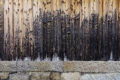 Parete di legno di una casa tradizionale giapponese Fotografia Stock Libera da Diritti
