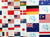 Parete di nazionalità dei concorrenti, Pan Pacific Freediving Championship 2018 Fotografia Stock Libera da Diritti