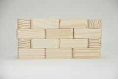 Parete di piccoli mattoni di legno Immagine Stock Libera da Diritti