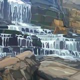 Parete di pietra dipinta con una cascata a più stadi illustrazione di stock