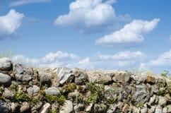 Parete di pietra e cielo ed erbe antichi fotografia stock libera da diritti