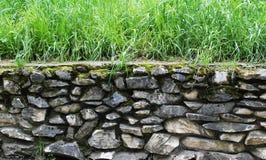 parete di pietra ed erba Fotografia Stock