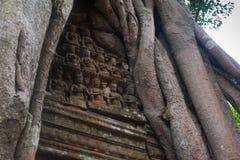 Parete di pietra muscosa antica di Angkor Wat decorata con il relie delle statue fotografia stock
