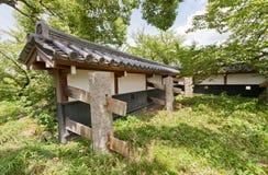Parete di terra del castello di Yamato Koriyama, Giappone Immagini Stock