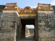 Parete di Tipu Sultan Fort, Palakkad, Kerala, India immagine stock