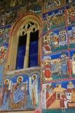 Parete dipinta al monastero di Voronet, Bucovina Fotografia Stock