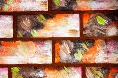 Parete dipinta nello stile dei mattoni colorati decorativi Fondo variopinto astratto per il disegno fotografia stock libera da diritti