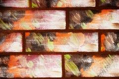 Parete dipinta nello stile dei mattoni colorati decorativi Fondo variopinto astratto per il disegno immagine stock libera da diritti