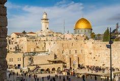 Parete e cupola occidentali della roccia, Gerusalemme immagini stock libere da diritti