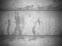 Parete e pavimento di calcestruzzo vuoti della stanza Priorità bassa strutturata Immagini Stock