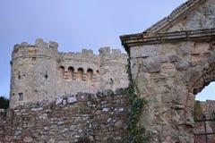 Parete e torre drammatiche del castello Immagini Stock Libere da Diritti